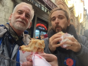 with Bob from Alaska -having doner kebab in pita bread near grand Bazaar