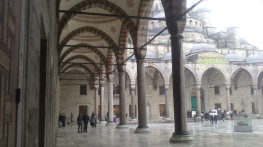 The colonnades, the courtyard of the Blue Mosque (the Sultan Ahmed Mosque)